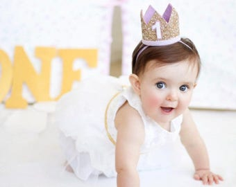 Glitter Birthday Crown | First Birthday Smash Cake Crown | 1st Birthday Party Hat | Pale Gold + Purple 1
