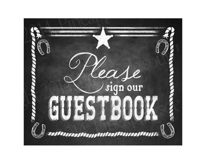Western Themed Wedding GUESTBOOK sign - Chalkboard Style - PRINTABLE file  DIY Western Wedding signage