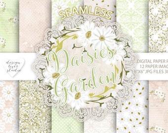 Watercolor Daisies flowers digital paper, Flower background, Floral pattern, dots pattern, seamless pattern, Repeatable Digital Paper