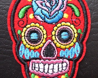 Embroidered patch fusible skull skull candy skull pinup 5.3 x 7.1 cm red x 1