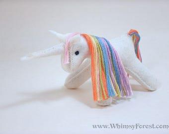 Miniature Pastel Rainbow Felt Toy Unicorn
