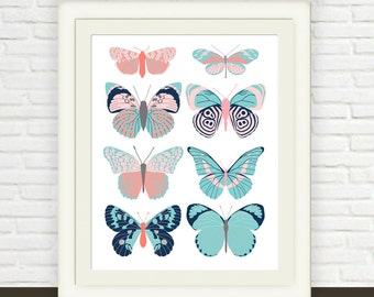 Pink and Navy Blue Butterfly Print // Instant Download // Girl's Nursery Art // Butterfly Childrens Wall Art  // Baby Butterfly Illustration