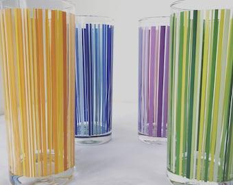 Vintage 60s Highball Striped Glasses