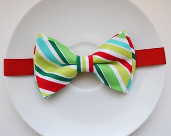 Christmas Bow tie Christmas bow tie /Christ mas red and green stripe bowtie / Bow /hair bow for boy/ toddler/ baby/ man