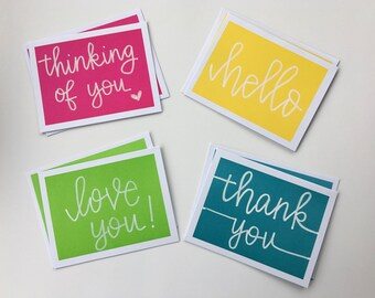4-pk of Hand-lettered cards // Greetings variety pack, thank you, i love you, hello, thinking of you, encouragement, friends