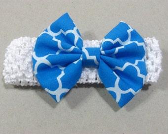 Newborn Baby Headband Bow, Baby Hair Bow, Baby Hairband, Blue White Hair Bow, Baby Hair Accessories