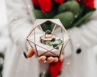 Geometric Terrarium, Wedding Gift, Wedding Ring Bearer Box, Glass Diamond, Office Decor, Cubicle Planter, Coworker Gift, Succulent Planter