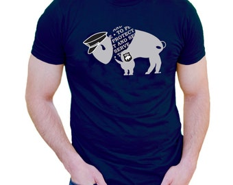 Police Tshirt Men To Protect and Serve Buffalo Hero T-shirt Navy