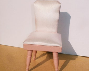 Chair, sateen, wood, miniature dollhouse 1/12