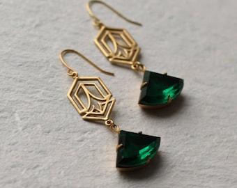 Art Deco Earrings ... Emerald Green Art Nouveau May Birthstone
