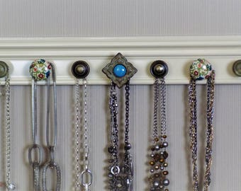 """READY to SHIP. This jewelry hanger has 7  knobs featuring a rustic western style center knob off white  20 """" storage rack for mother's day"""