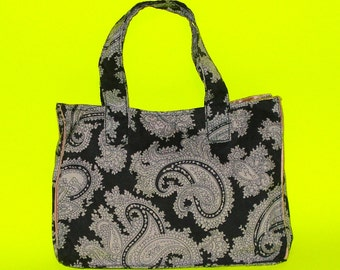 Paisley Matte Black and White Pastel Goth Punx Classic Essentials Handbag Style Patterned Satin Purse