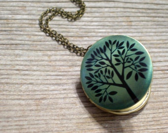 Tree Art Locket, Woodland Pendant, Green and Black Brass Locket Necklace, Nature Jewelry