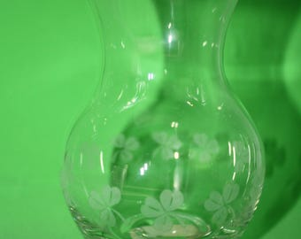Vintage Vase with Etched Shamrocks made by Crystal Clear Industries