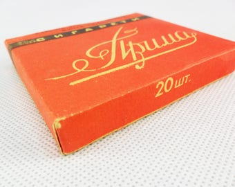 Vintage box cigarettes Vintage Cigarette Packet Russian cigarettes Prima Collectible smoking Red tobacco package Old cigarette paper tobacca