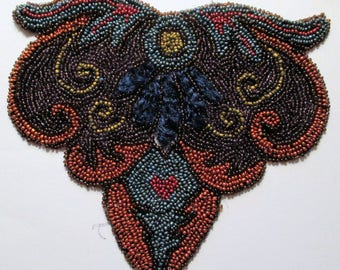 Antique Beaded Chenille Applique Flapper Stunning