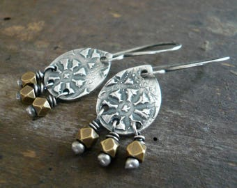 Soleil Collection Drops Earrings - Oxidized fine silver. Brass. Mixed Metal. Handmade