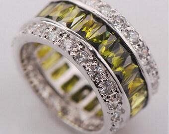 Crystal Ring-Silver Ring- green Ring- Women's Ring- Colored Ring-Zirconium Ring-Silver Ring- women gift