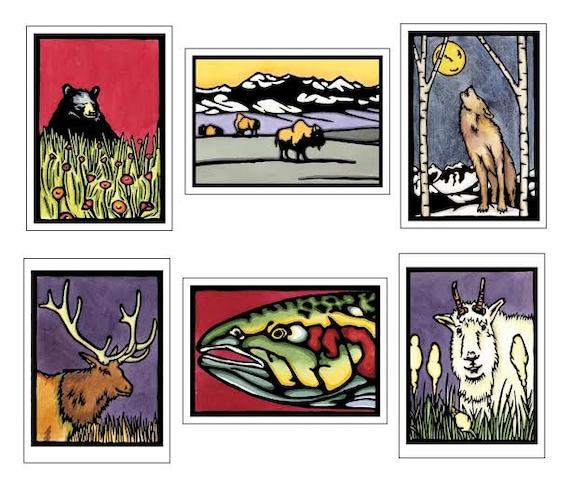 Northwest Animals Collection - 6 Blank Greeting Cards - Black Bear, Bison, Wolf, Elk, Trout, Mountain Goat - Mountain Wildlife