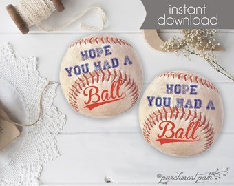 Baseball Favor Tags - Baseball Stickers - Baseball Printable - Baseball Birthday Party or Baby Shower - Instant Download