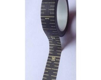 Washi tape (washi) - yellow black with measurements