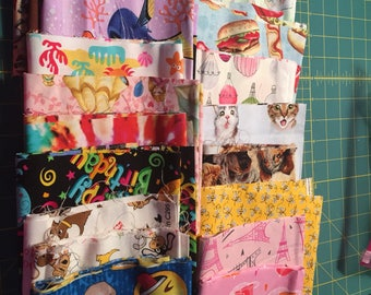 20 Fabric Remnants Destash  Cotton Licensed and Non Licensed Fabric  Children  Lot 3