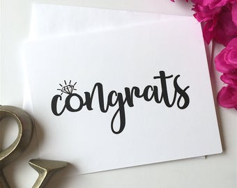 Engagement Card, Congrats Card, Engagement Ring, Engagement Gift, Wedding Card, Congratulations Card, Card with Ring, Bridal Shower Card