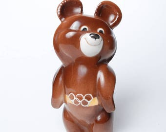 Vintage Porcelain Figurine, Bear 1980 Moscow Olympic Games Symbol