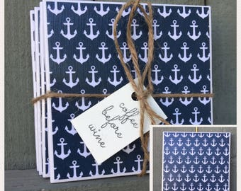 White & Blue Anchor, Set of 4 Coasters