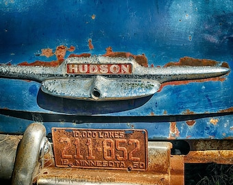 Rusty Hudson - Vintage Car - Rustic Wall Art - 8x10 Prints - Retro Print - 1950 Hudson - Rust - Blue - Garage Art