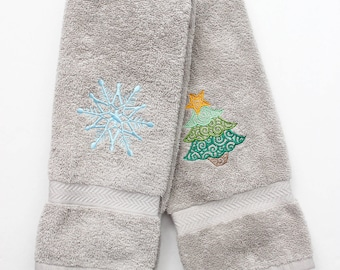 Christmas Hand Towel Set - Christmas Towels - Snowflake Towels - Christmas Tree Towel - Christmas Decor - Embroidered Towels - Hostess Gift