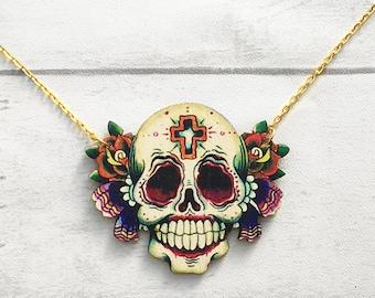Sugar skull necklace, skull necklace, Halloween Jewellery, Halloween, Skull, Sugar Skull, Day of the Dead Necklace, Laser cut Wood, Smile
