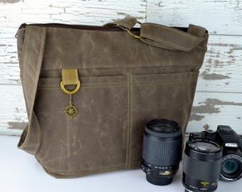 Womens Camera Bag in Waxed Canvas - Vegan Espresso brown faux leather by Darby Mack, made in the USA