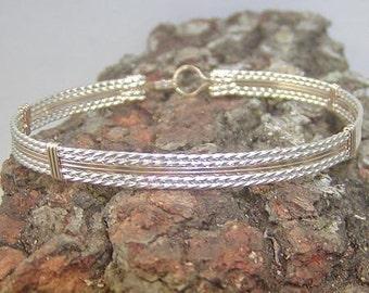 Two Tone Wirewrapped Bracelet - Traditional Wirewrap - Two Tone Bangle - Silver and Gold Bracelet - Stackable Bracelet - Affordable Bracelet
