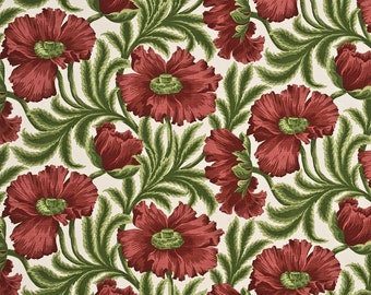 LEE JOFA KRAVET Floral Garden Linen Fabric 10 Yards Red Green Cream