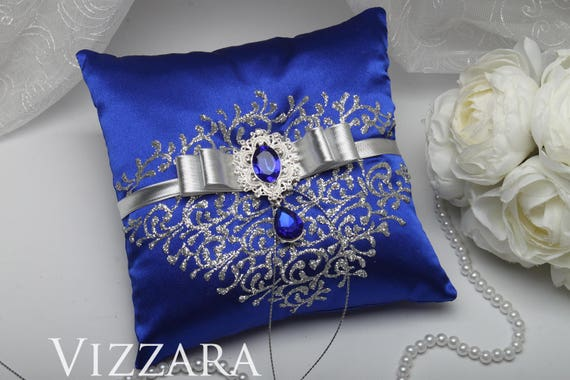 Ring bearer pillows Royal blue and silver wedding Ring bearer