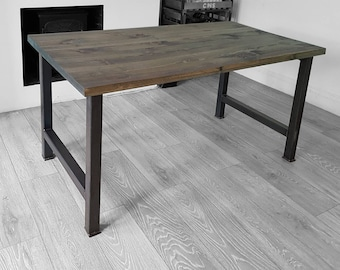 H frame Industrial Dining Table Distressed Grey - graphite black steel leg