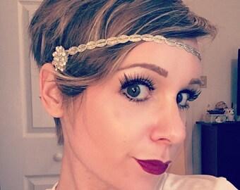 Silver Headband - Wedding Hair Accessory - Great Gatsby Prom - 1920s Flapper Costume Headpiece - Bridesmaids Hair Ties - Wedding Party