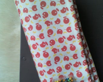 Creation of printed fabric pattern Apple and worm