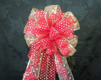 Red and Gold Polka Dot Bow / Chrisstmas Bow / Tree Topper Bow
