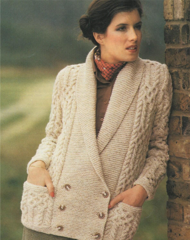 Womens Aran Jacket Knitting Pattern PDF Ladies 32, 34, 36 ...