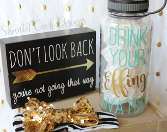 Drink your EFFING water - CLEAR water bottle with water tracker - motivational time tracker - 34 oz water bottle - BPA Free