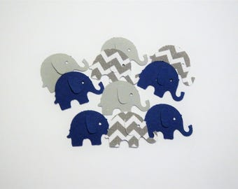 100 Navy Blue Gray Elephants,Confetti,Baby Shower,Nursery,Invitations,Baby Boy,Gender Reveal