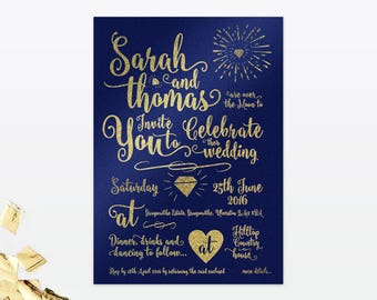 Glitz & Glamour- Wedding Invitation - Single Card - Glamorous