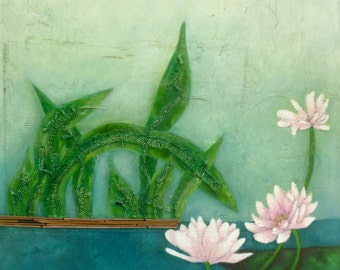 Water lilies original acrylic painting, cradled wood panel, home decor, flowers, ready to hang, green, collectible art