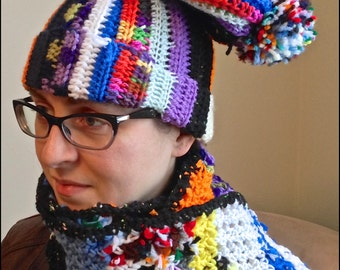 Adult Scrap Yarn Scarf and Hat Set