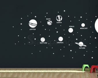 HUGE Outer Space Planets Wall Decal - 7ft Tall Solar System Sun Wall Decor - Stars Earth Decal for Bedroom - K431