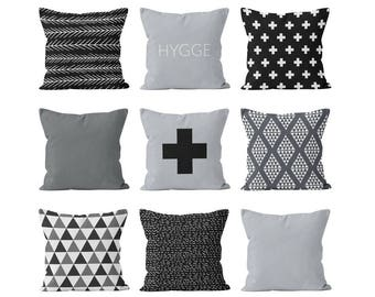 Hygge Pillow Covers Set Mix and Match Hygge Decor, Scandinavian Pillow Covers Decor, Nordic Pillow Covers Grey Black Swiss Cross Decor