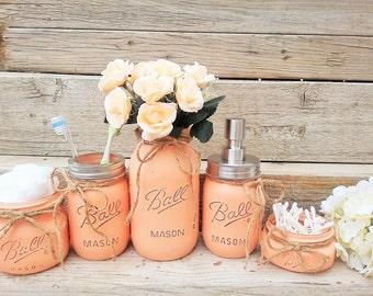 Mason Jar Bathroom Decor, Peach Bathroom Set, Painted Mason Jar Bathroom Set, Bathroom Set, Bathroom Decor, Peach Bathroom Decor, Mason Jars