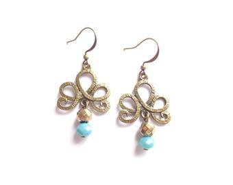 Boho Earrings, Gold Earrings, Turquoise Earrings, Bohemian Jewelry, Dangle Boho Earrings, Bronze Earrings, Women Earrings, Gift For Women